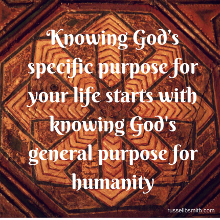 Knowing God_s specific purpose for your life starts with knowing God's general purpose for humanity
